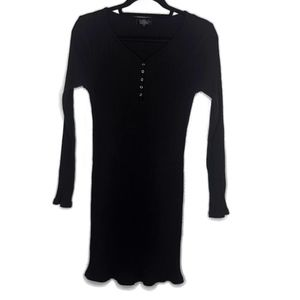 Topshop Black Long Sleeve Ribbed Bodycon Dress